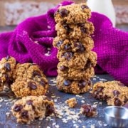 A stack of 2 Ingredient Cookies in front of a purple towel