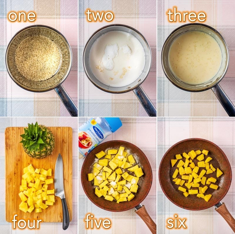 Step by step process of how to make coconut rice pudding
