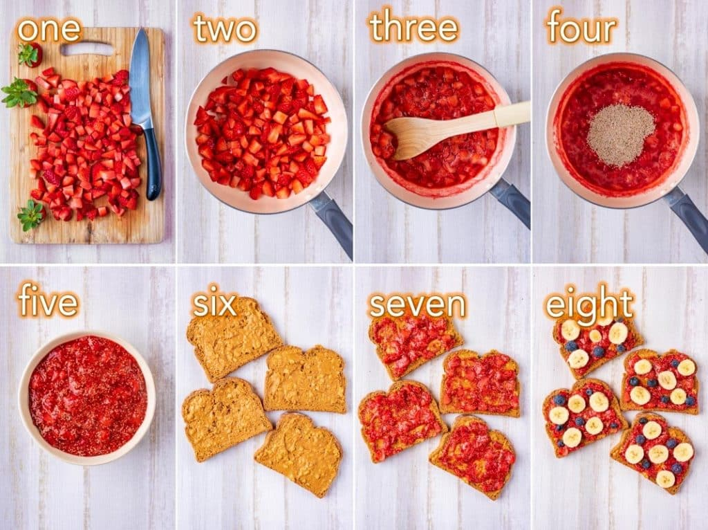 Step by step process of how to make a Healthy Peanut Butter and Jelly Sandwich
