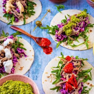 Pulled Lamb on mini wraps with slaw, lettuce and various dips