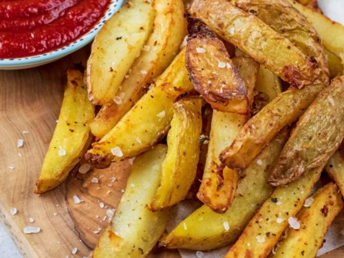 Air Fryer Chips on a serving board