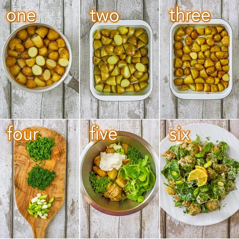 Step by step process of how to make Mustard Potato Salad
