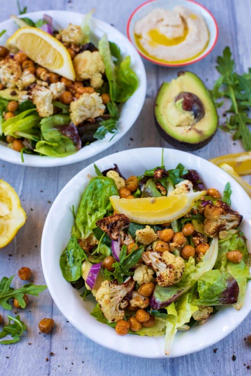 Roasted Cauliflower Salad topped with chickpeas