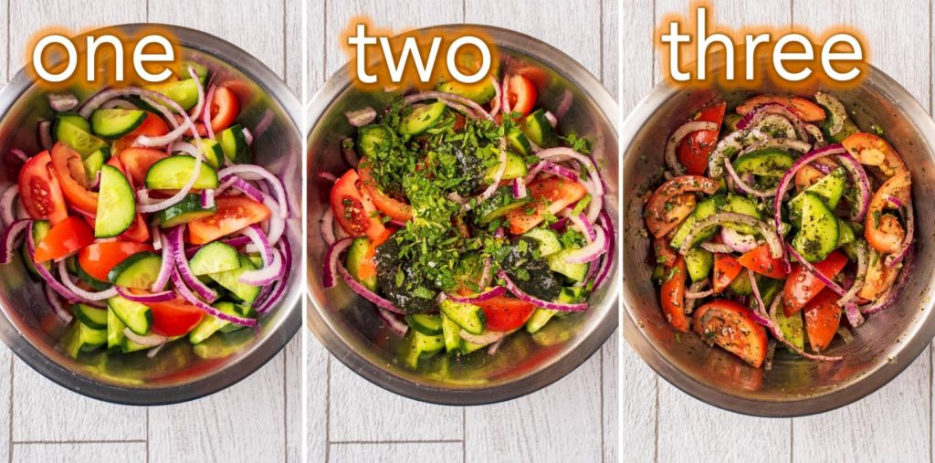 Step by step process of how to make Cucumber Mint Salad