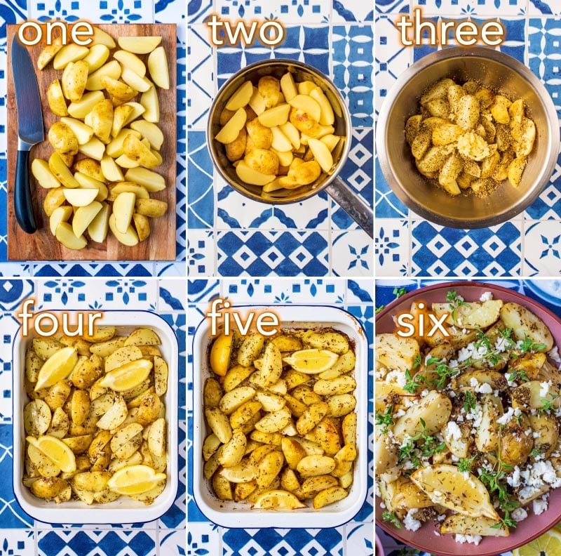 Step by step process of how to make Greek Potatoes