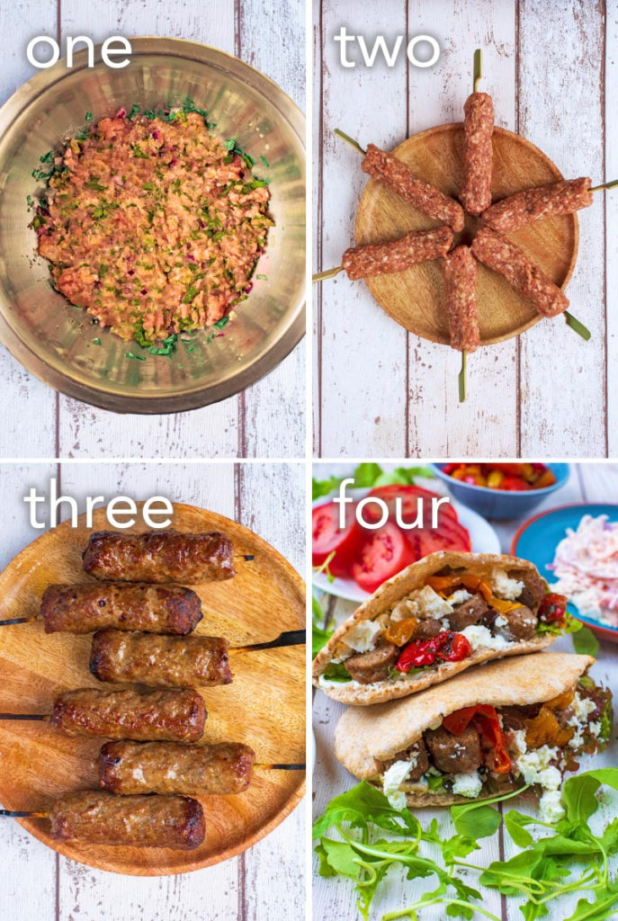 Step by step process of how to make Stuffed Lamb Pitas
