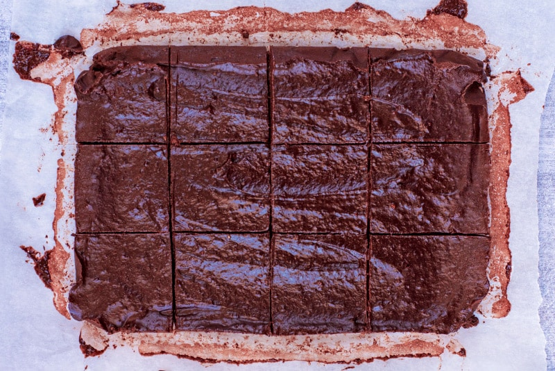 Frozen no bake brownies cut into squares