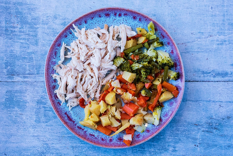 A blue plate with shredded turkey and chopped roast vegetbles