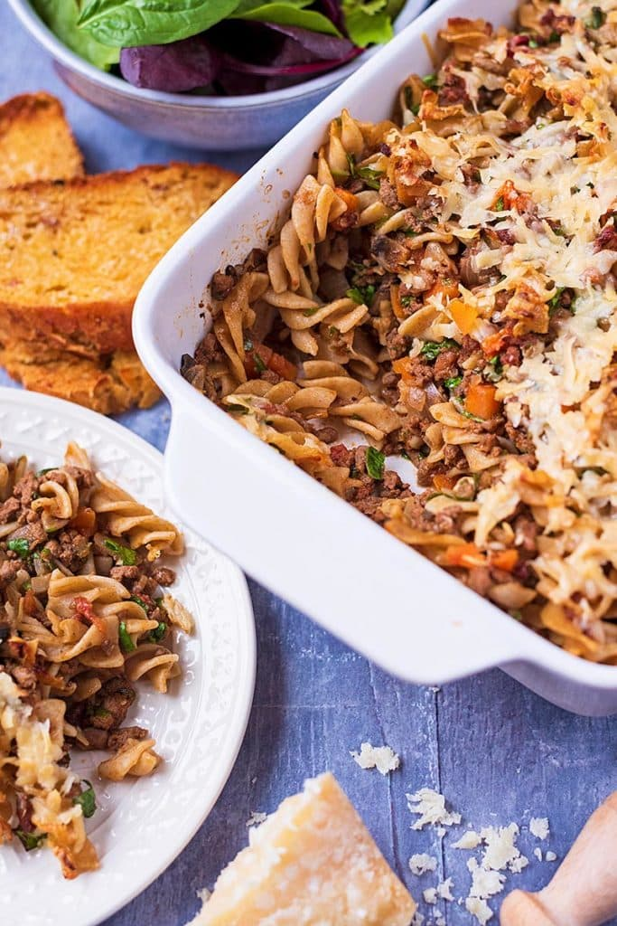A baking dish conmtaining a meat pasta bake