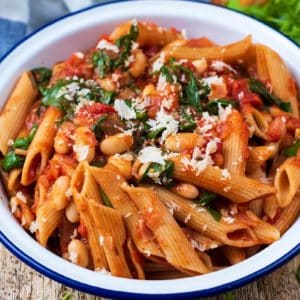 White Bean Pasta in a round blue and white serving dish