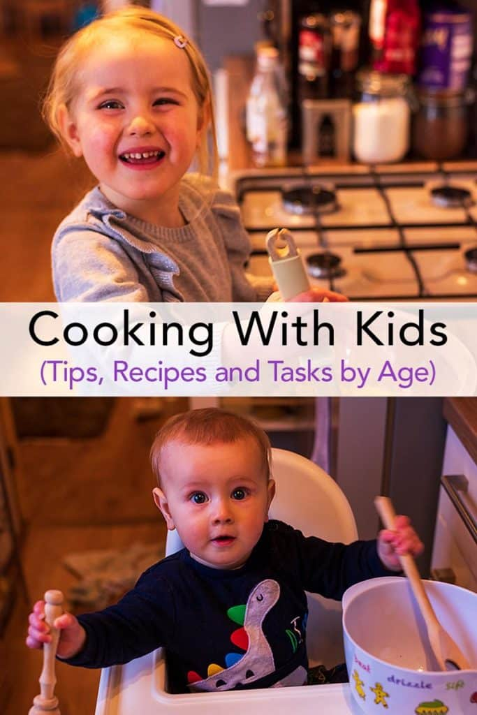 Two children in a kitchen with cooking utensils. Cooking with kids text overlay