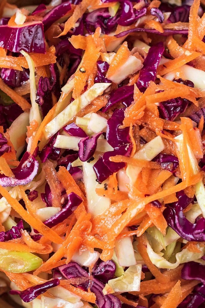 Shredded carrot and cabbage in a dressing