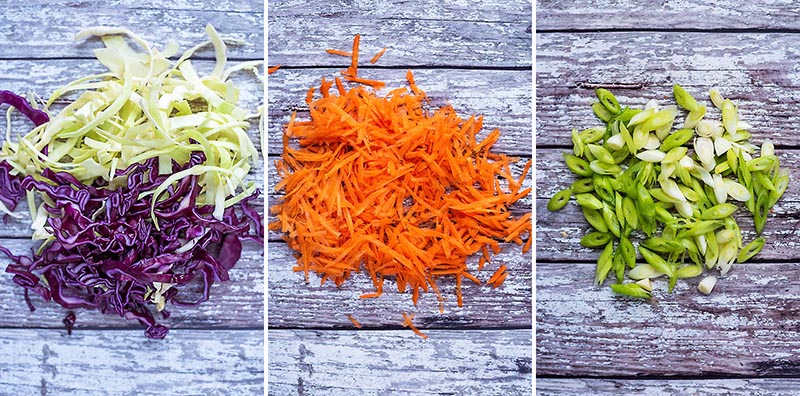 Three step shot of shredded cabbage, grated carrot and chopped scallions