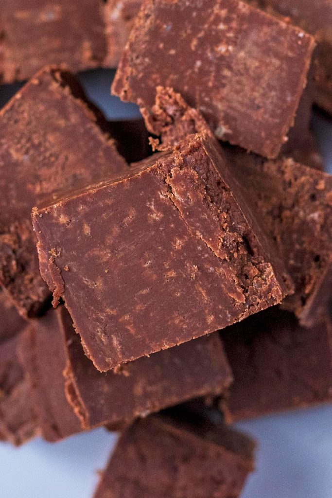 Cubes of fudge stacked up