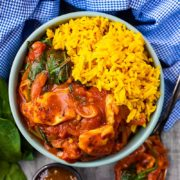 Halloumi Curry in a bowl with rice