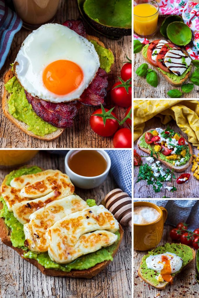 A collage of 5 different ways to have avocado on toast
