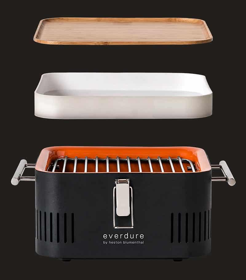 Cube Barbecue grill showing storage and board split apart