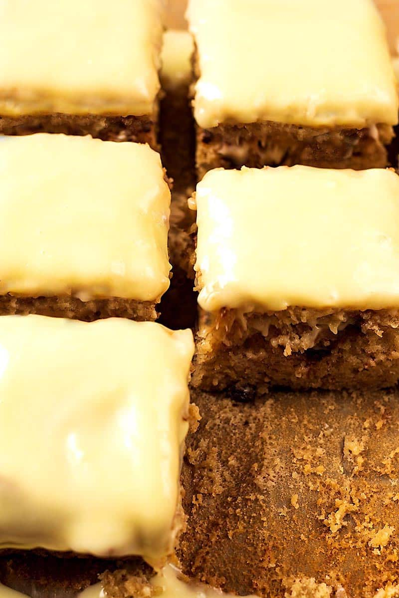 Iced banana cake cut into squares