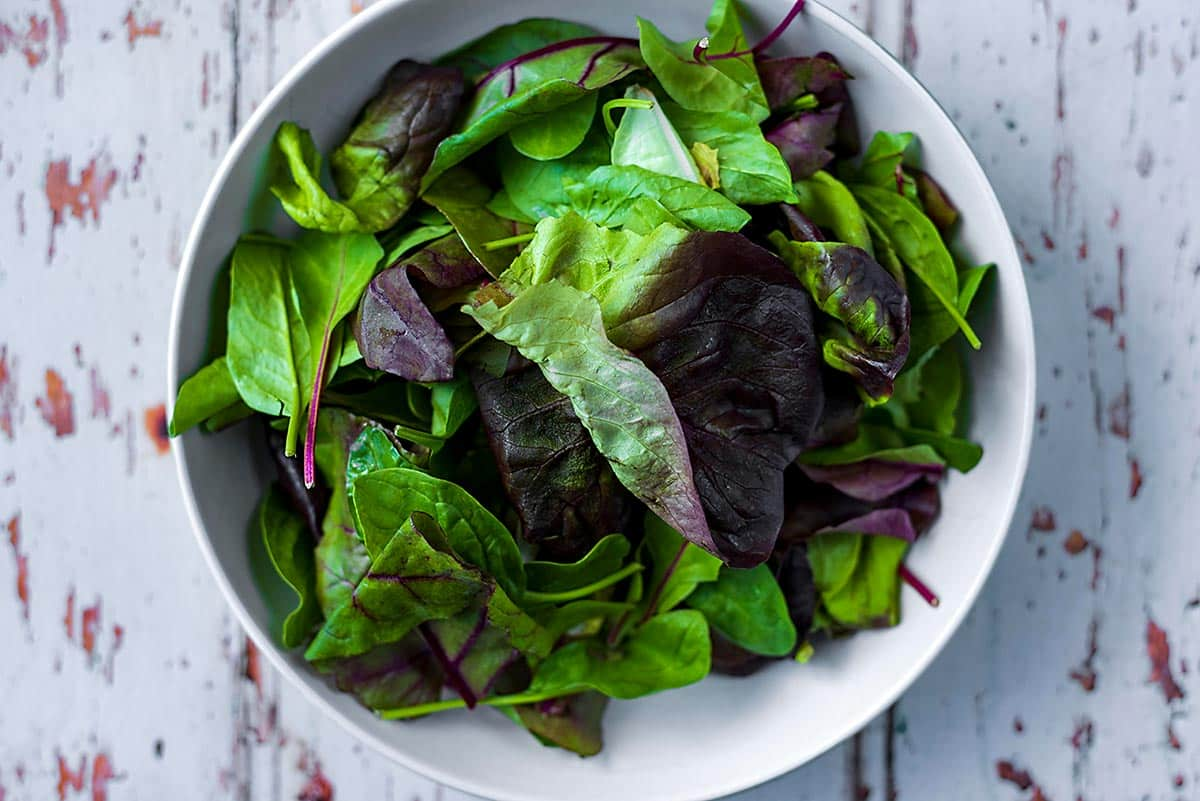 A bowl of salad leaves