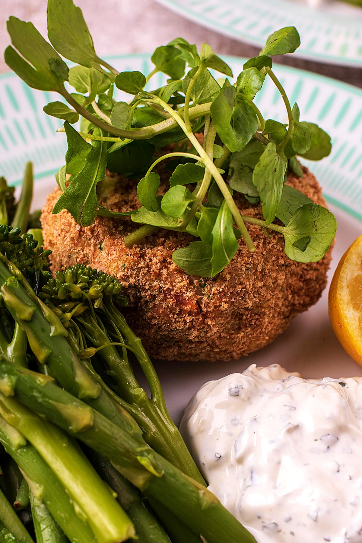 Baked fish cake with a topping of salad