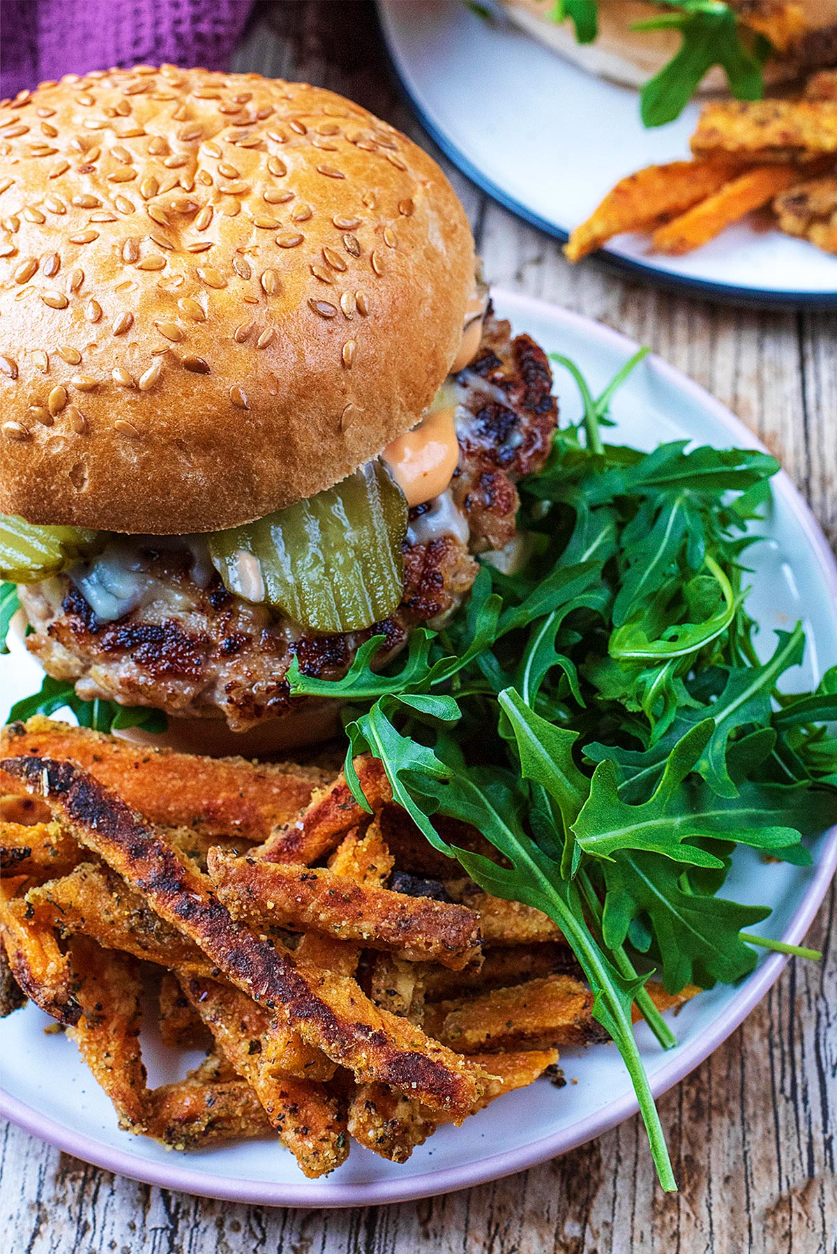 Pork burger in buns with fries and salad on a plate
