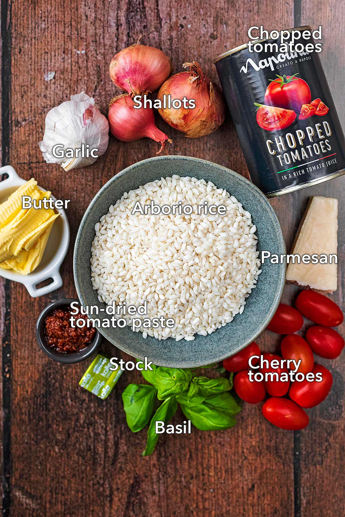 All the ingredients needed to make this recipe laid out on a wooden surface.