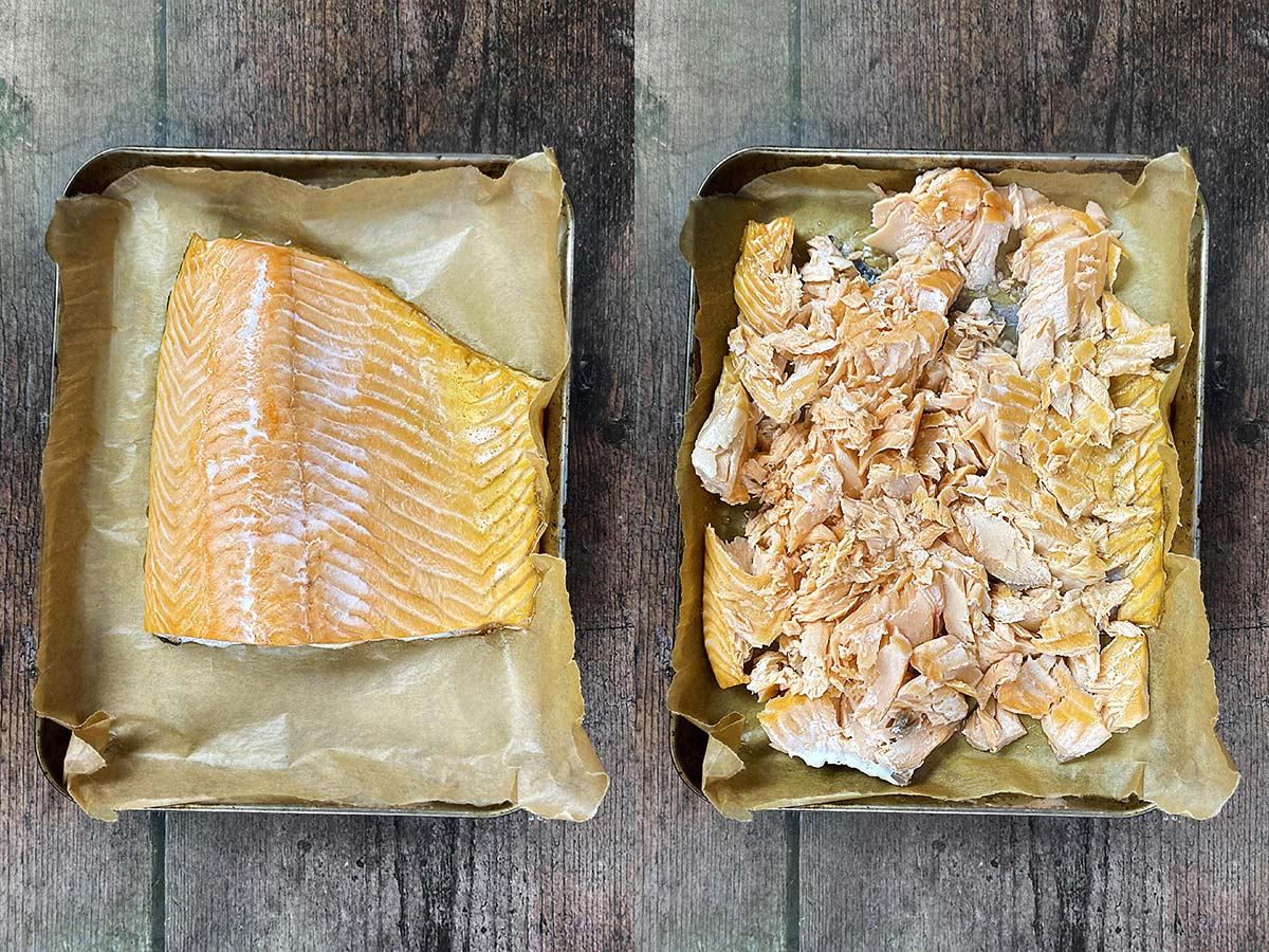 Two photo collage of salmon on a baking tray, one whole salmon side, one flaked.