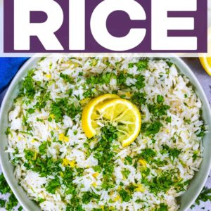 A bowl of Easy Greek Rice with a text title overlay.