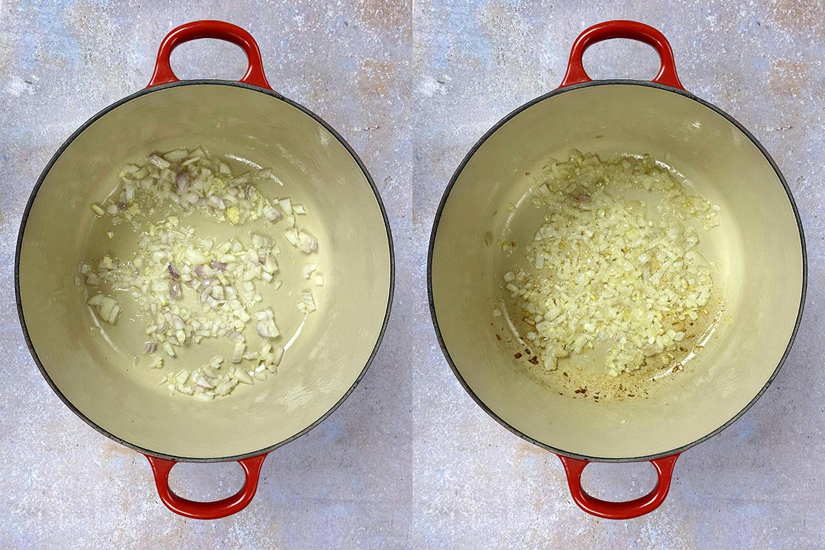 Two shot collage ofchopped shallots before and after cooking in a pan.