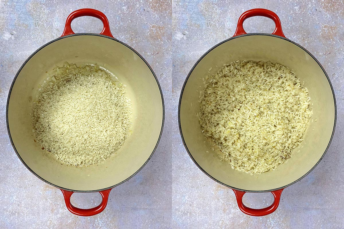 Two shot collage of rice added to the pan, before and after cooking.