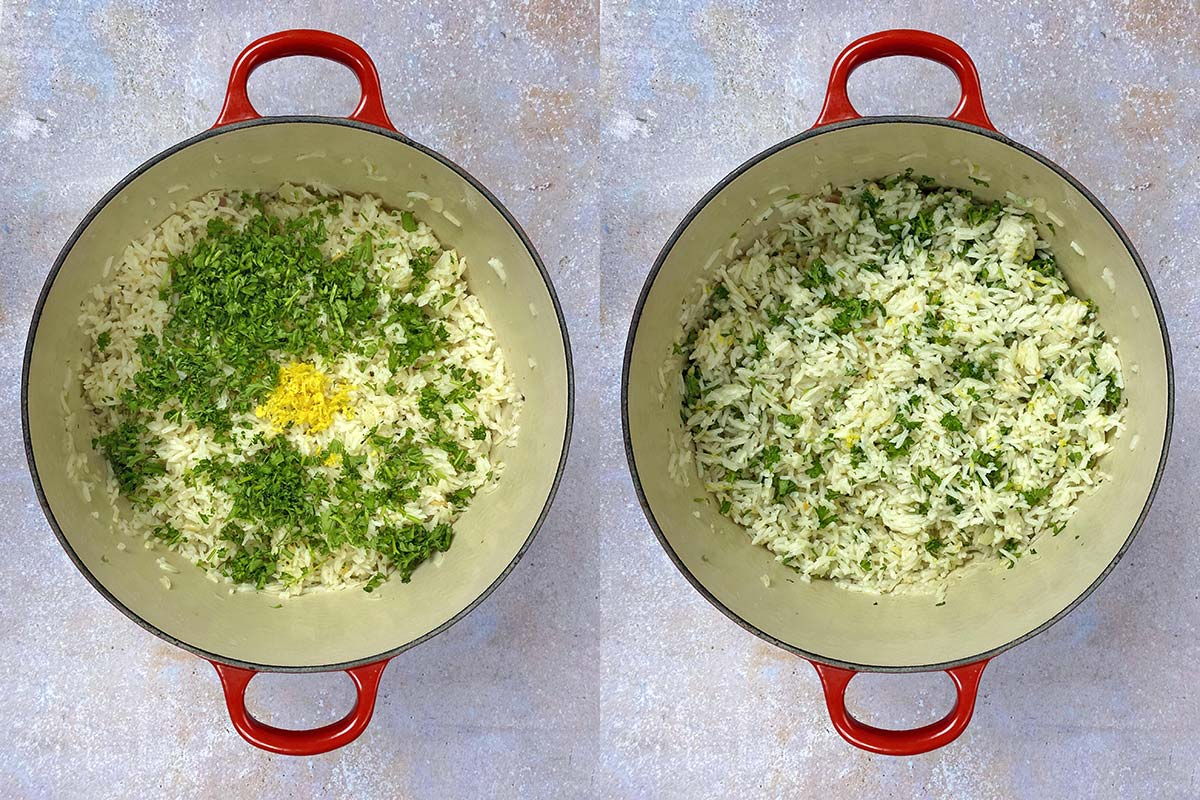 Two shot collage of the cooked rice with herbs and lemon zest added, before and after mixing.