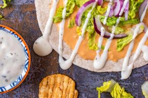 Buffalo Ranch Hummus Flatbreads