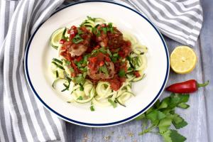 Pork and Fennel Meatballs with Courgetti