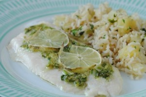 Lime Baked Fish with Pineapple Rice
