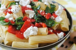 Roasted Red Pepper, Spinach & Goats Cheese Pasta