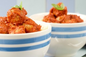 Sun Dried Tomato Turkey Meatballs in Roasted Red Pepper Sauce