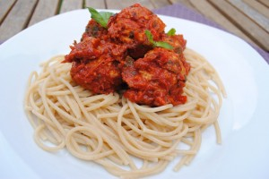 Tomato & Turkey Meatballs in Red Pepper Sauce